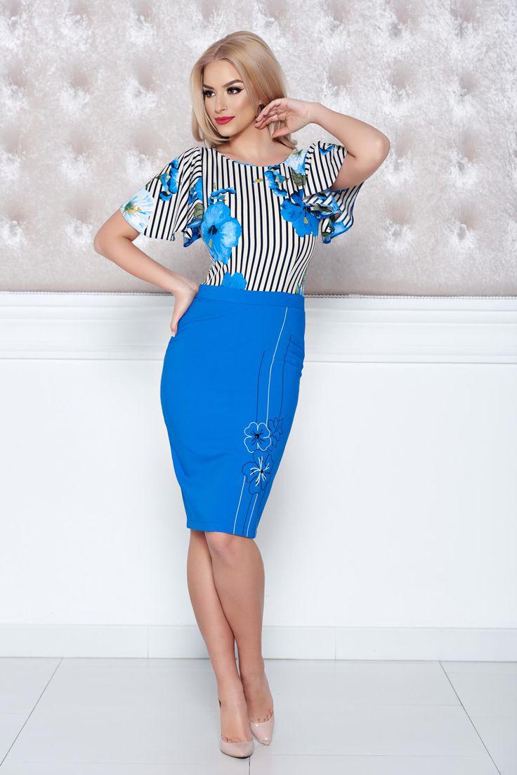 Comanda online, Rochie midi cu imprimeu floral LaDonna albastra cu maneca scurta. Articole masurate, calitate garantata!