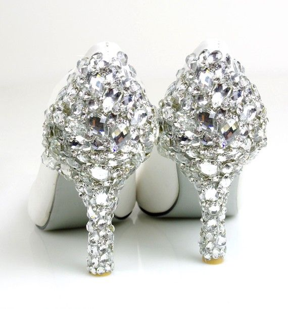 Swarovski Crystal Wedding Shoes to die for ~ Anyone can make them for themselves with a little E-6000 glue and Swarovski Flatbacks
