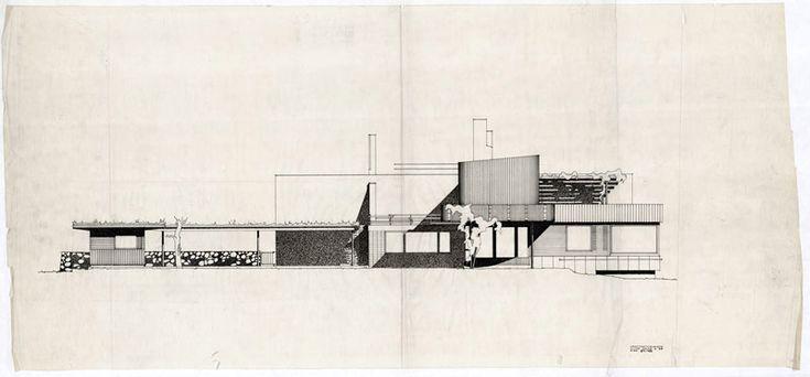 drawing of west elevation | Villa Mairea | Noormarkku, Finland | Alvar Aalto 1938-39