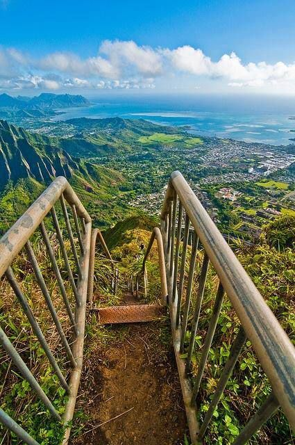 Haiku Stairs, Oahu, Hawaii, also known as Stairway to Heaven...