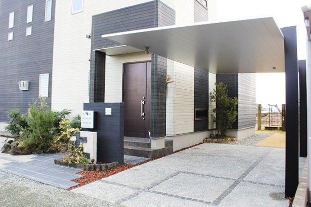 久留米のお庭屋さんの エクステリアってな に カーポートscの現場完成 現代建築の住宅 住宅のエクステリアデザイン マイホーム 外観