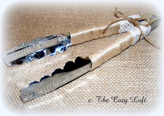 Rustic Country Wedding Cupcake Tongs  - Burlap and Lace #rusticwedding