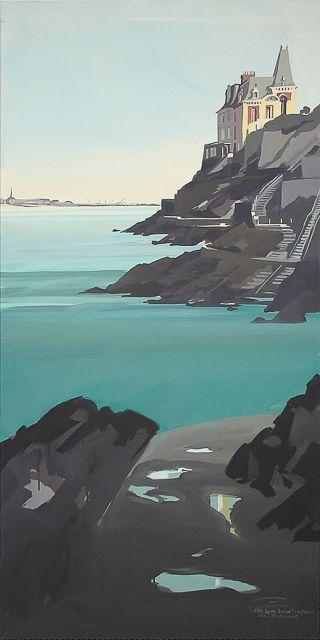 Peinture de Dinard par Michelle Auboiron - Villa Rochebrune