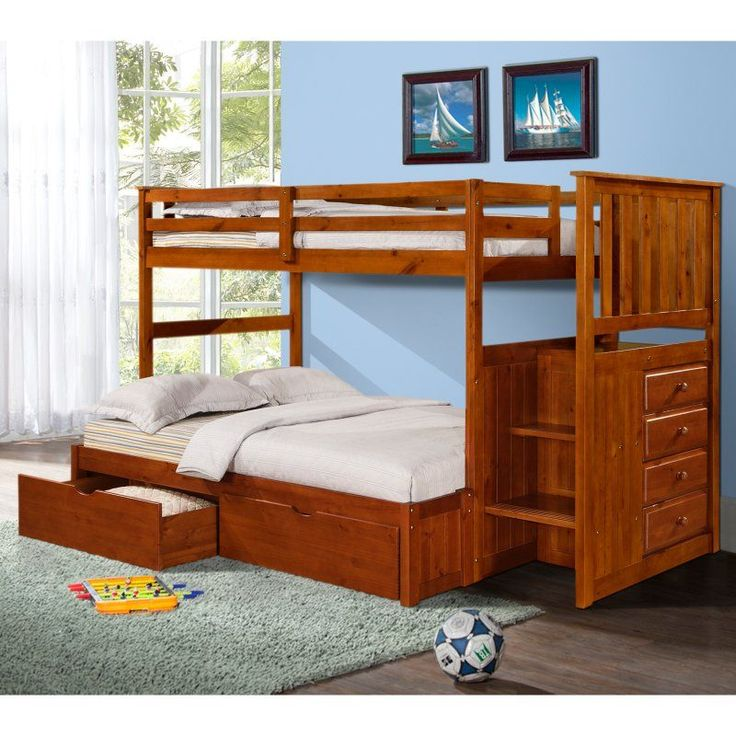 Charming Donco Twin Over Full Mission Stairway Bunk Bed   Light Espresso   DOT211.  Etagenbetten ...