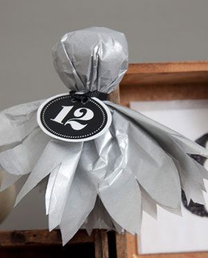 Tissue paper ghost - easy - great way to use the white tissue paper