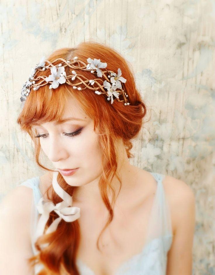 Floral vine crown, blue floral head piece, silver wedding wreath, bridal hair accessories. $60.00, via Etsy.