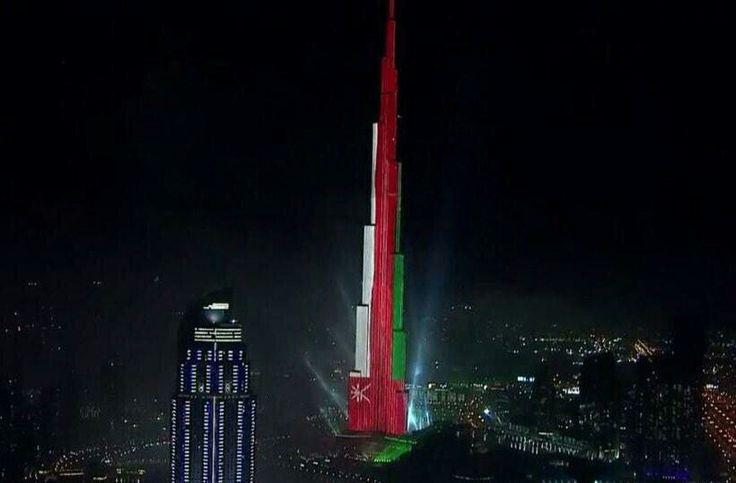 Oman Flag On Burj Khalifa In New Year Dubai Oman