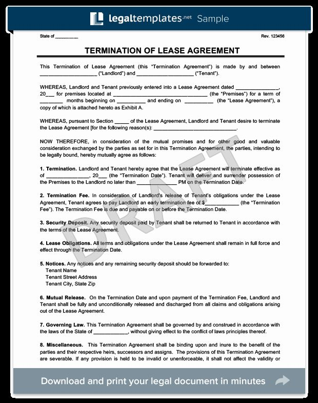 Termination Of Lease Agreement Template Beautiful Make A Free Lease Termination Letter In Minutes Being A Landlord Lease Agreement Termination Of Tenancy