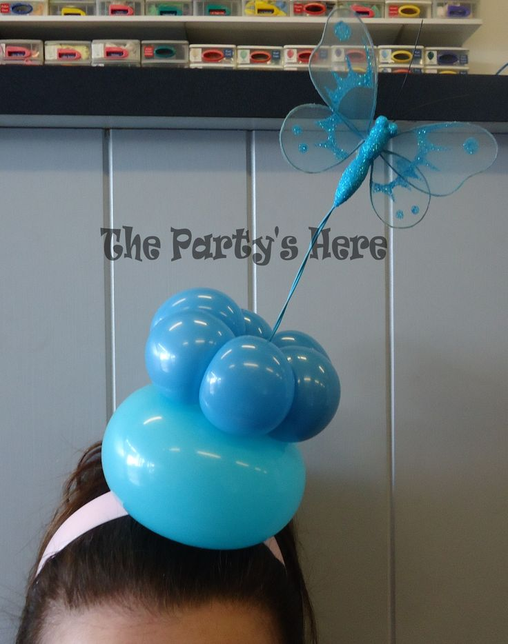 Balloon Headband, Butterfly Bliss made by our own Certified Balloon Artist, Claire. Learnt at Ozjam 2014 in Sydney, a balloon convention for balloon twisters, decorators & entertainers.  These are perfect for the races, office dress up days, nights out, hen's parties and birthday parties.   www.thepartyshere.com.au