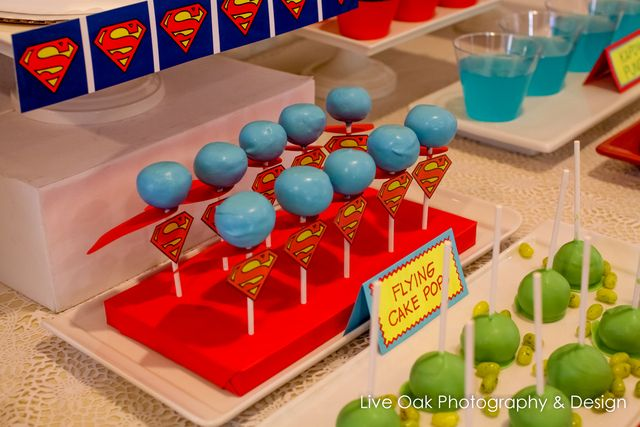Flying cake pops at a Super Hero Party #superhero #party