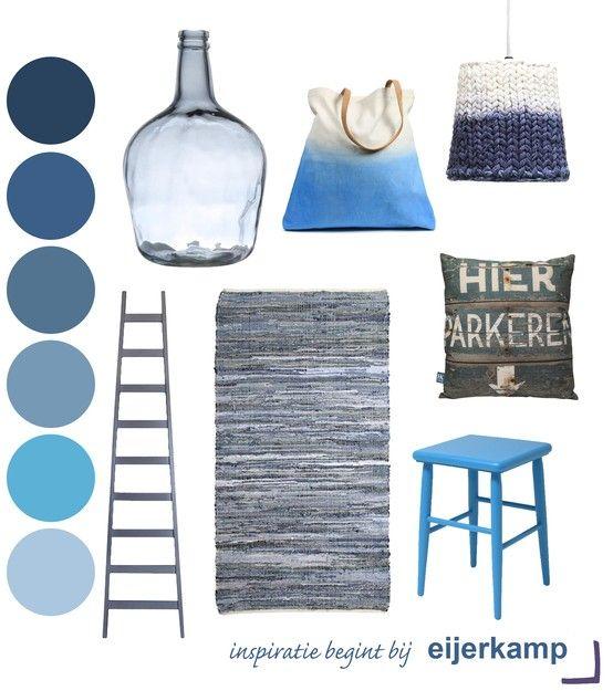 Haal de kleur blauw in huis! Blauw geeft je interieur een pure en frisse uitstraling ♥ Eijerkamp