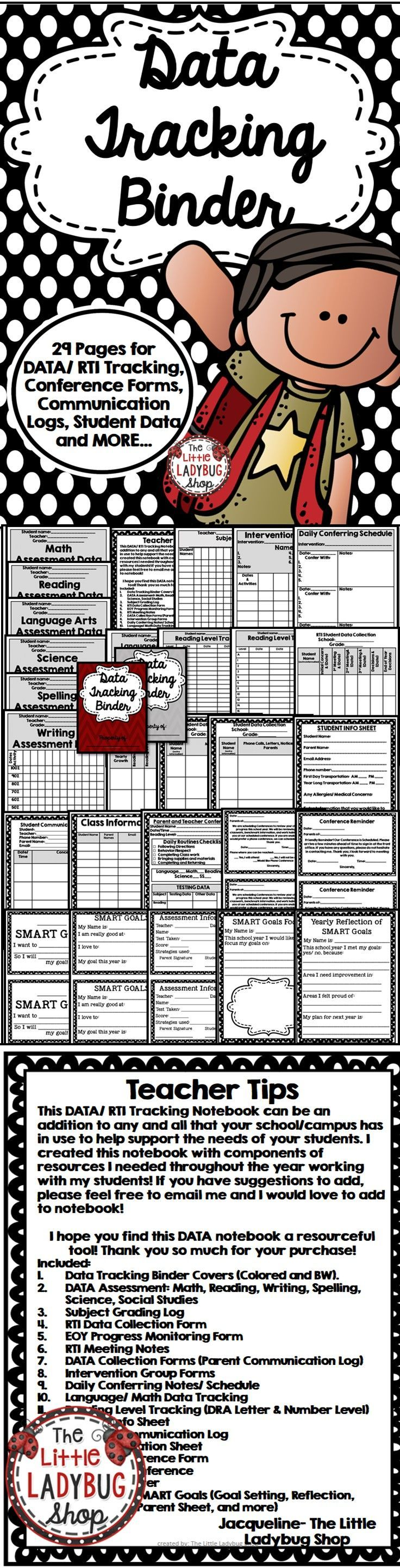 DATA | RTI | Data Collection Binder | IEP | Goal Setting Binder   DATA/ RTI Tracking Notebook {29 Pages} can be a GREAT addition to any and all that your school/campus has in use to help support the needs of your students.