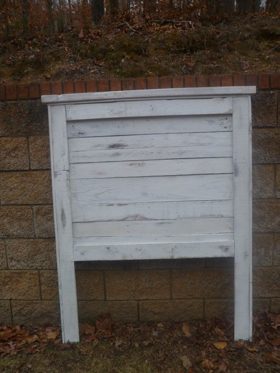 Distressed white Twin headboard made from pallets. $150.00, via Etsy.