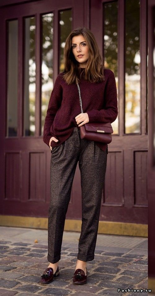 Pleated cropped tweed trousers plus bulky sweater