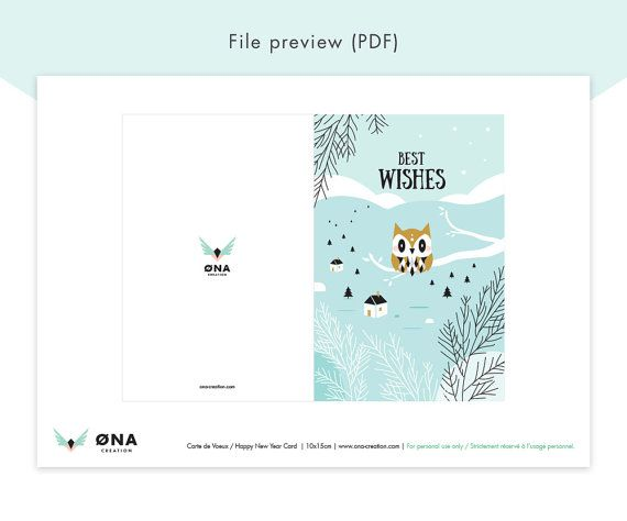 Instant Download Printable: Greetings Card to wish a Happy New Year to your friends and family. Available in English and French.  ------------------------  Welcome to the World of ØNA Creation!  In this listing you will find a INSTANT DOWNLOAD printable Greetings Card.  Each Greeting Card has a size of 10 x 15 cm (3,9''x5,9'') and can be printed on an 8,27'' x 11,69'' page (A4) on card stock paper. Make your New Year messages stand out with this lovely Greetings card! Download it once and…