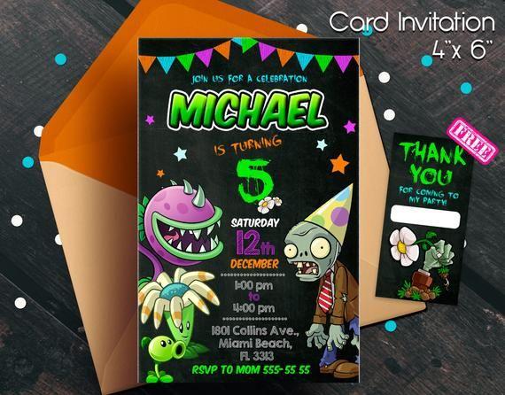 Plantas Vs Zombies Invitacion Fiesta De Plantas Vs Zombies