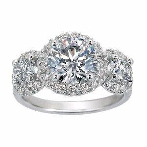 TRIPLE DIAMOND WITH IT WORKS!Diamonds 3 Three Stones, Halo Rings, Custom Rings, Diamonds Halo, Anniversaries Rings, Tops View, Three Diamonds, Stones Diamonds, Engagement Rings