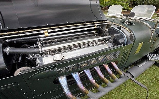 Bentley with Spitfire engine.The 27-litre V12 engine is a development of the Rolls-Royce Merlin used in Spitfires and Lancasters
