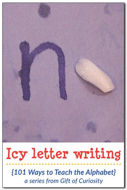 Icy letter writing alphabet activity - awesome idea to combine tactile experience with writing! Super simple to prepare for a hot summer day!