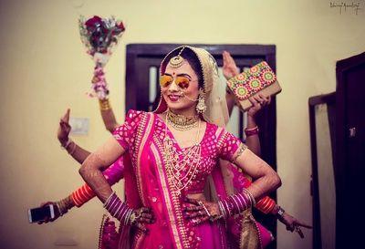 bride wearing aviators, fun bridesmaid shot