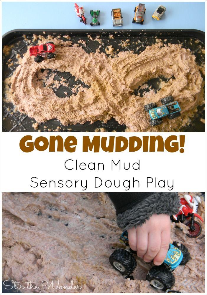 Gone Mudding! Clean Mud Sensory Play | Stir the Wonder