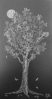 Árbol de la Vida VI, tallografía 32 * 20 cms, @copyright Carolina Busquets.