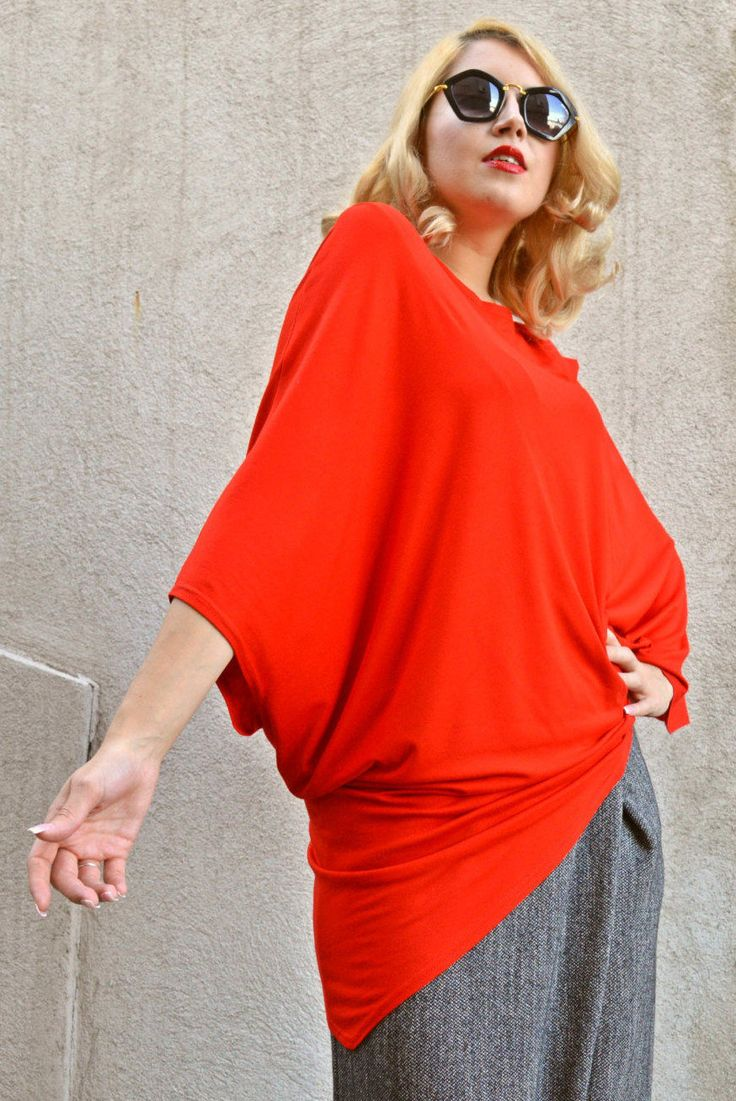 Now selling: Red Top / Red Viscose Top / Kimono Top / Asymmetrical Loose Top / Red Extravagant Top / Kimono Sleeve Top TT69 https://www.etsy.com/listing/252876988/red-top-red-viscose-top-kimono-top?utm_campaign=crowdfire&utm_content=crowdfire&utm_medium=social&utm_source=pinterest