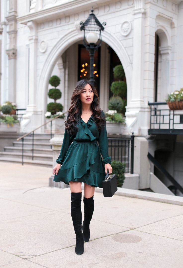 Emerald green holiday party dress + over the knee boots // by extra petite fashion blog