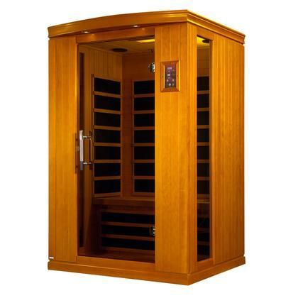 "Venice II Edition DYN-6210-02 75"" Far Infrared Sauna with 2 Person Capacity 6 Carbon Heating Elements Chromotherapy Lighting and Tempered Glass Door"