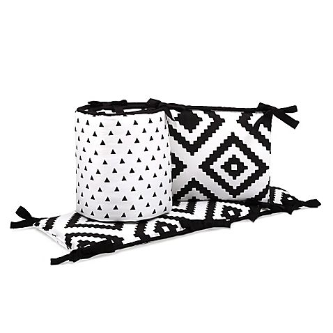 The Peanut Shell® Triangles and Tiles 4-Piece Crib Bumper Set in Black/White