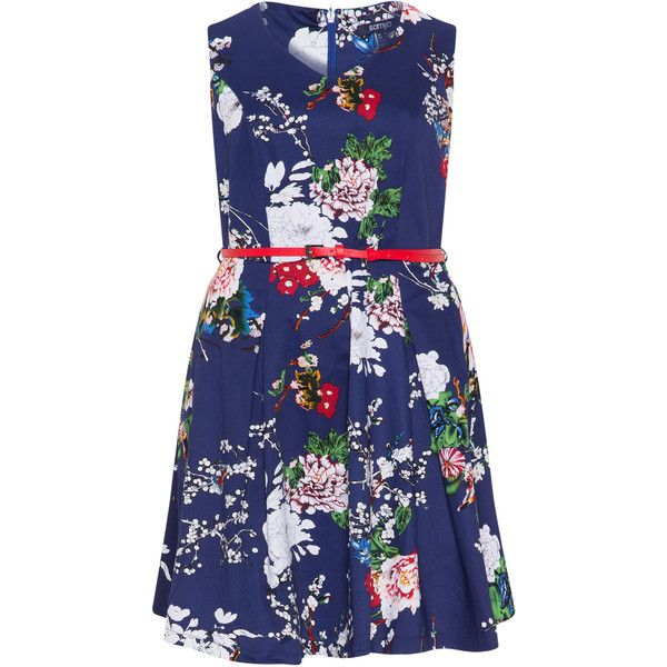 Samya Blue / Multicolour Plus Size Flower print belted dress (3,225 INR) ❤ liked on Polyvore featuring dresses, blue, plus size, women plus size dresses, blue dress, blue skater skirt, waist belt and plus size floral dresses