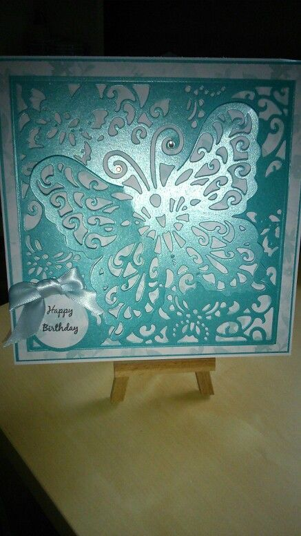 Birthday card made using craters companion butterfly create a card die and centura pearl card in turquoise