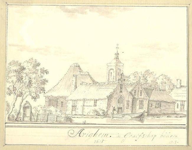 Erichem    gemonogrammeerd rechtsonder: J.S.  opschrift onder (positioneel kenmerk): Arighem. in Graefschap búúren / 1615  Huidige toeschrijving   Jacobus Stellingwerff  Datering   1682 - 1727