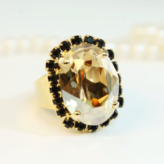 Champagne Ring Brown Black Adjustable Crystal Ring Oval Ring Cocktail Ring Statement Ring Swarovski  Crystals Gold finish Golden Shadow,GR39
