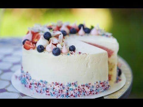 Бисквитный торт с клубникой, белым шоколадом и розовым шампанским. Пошаговый рецепт. - YouTube
