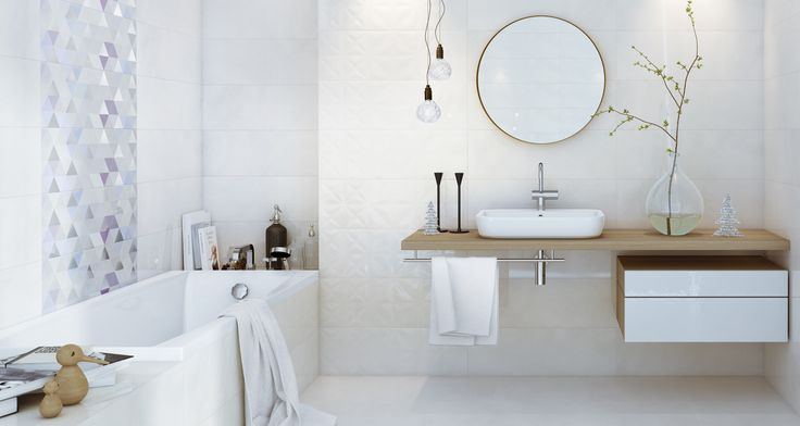 Pastelowa łazienka, geometryczne motywy i drewno. Płytki łazienkowe - Geometric game 25x75 cm - Opoczno