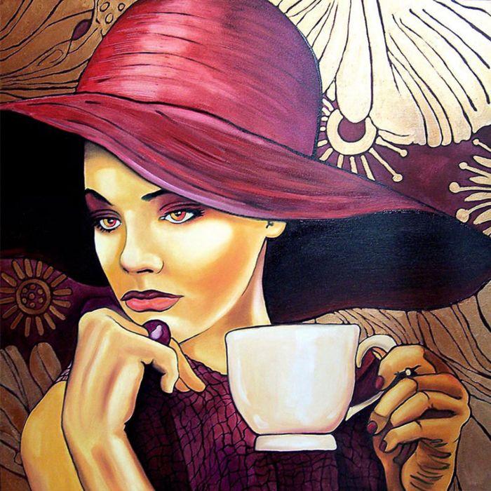 рисование кофе женщина миру в награду дана устала