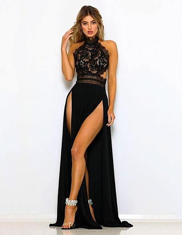 563c070930 INstyle fashion NYC Women's black sleeveless high split evening dress  Hollow out sheer black paisley bodice Scalloped fringe trim Halter neckline  with nape ...