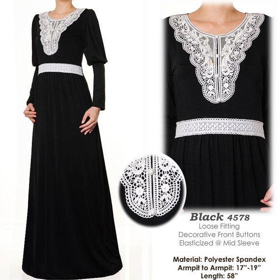 Neck Motif Lace Jersey Abaya Puff Sleeves Muslim by MissMode21