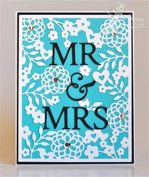 Mr & Mrs Wedding Card by Carole Burrage #Wedding, #Cardamking, #CuttingPlates