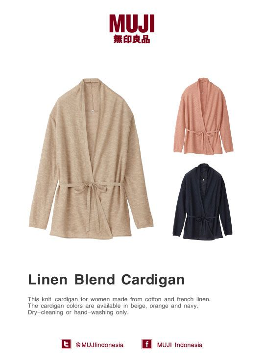Women's linen cardigan, made from cotton & french linen. Colors: beige, orange, navy. Dry-cleaning / hand-washing only.