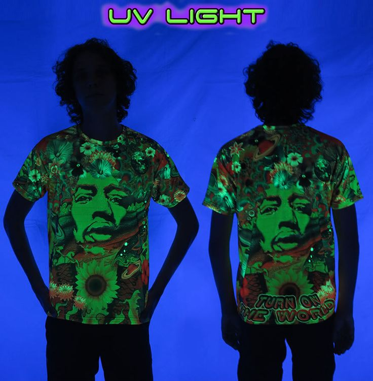 "UV Sublime S/S T : Flower Power  Printed short sleeve T shirt.   that will really grab people's attention.  The design is printed using sublimation printing on a high quality UV Yellow polyester / Dri-Fit blended shirt.  This allows for extremely vibrant colors that will never fade away no matter how many times it gets washed, & results in an extremely soft ""feel"" to the shirt for ultimate comfort.  UV active - Glows under black light !  Artwork by Jeff Hopp"