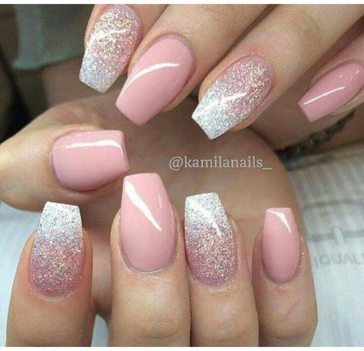 Pink & glitter nail art design