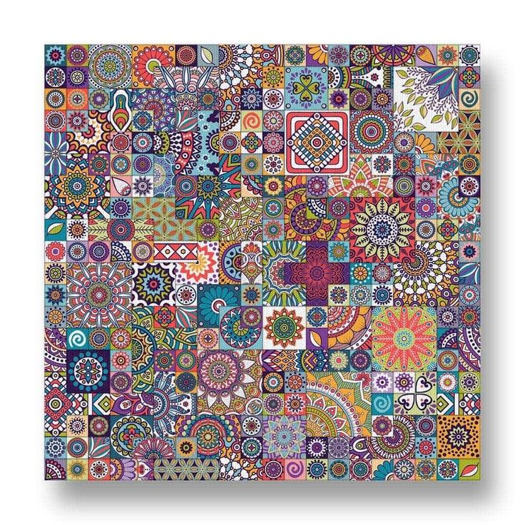 Floral Mosaic Pattern Canvas Print.  This unique canvas print features a large number of different floral mandalas in a mosaic design.  The eye is lured into finding new patterns every time the canvas is viewed which keeps the canvas continually interesting.