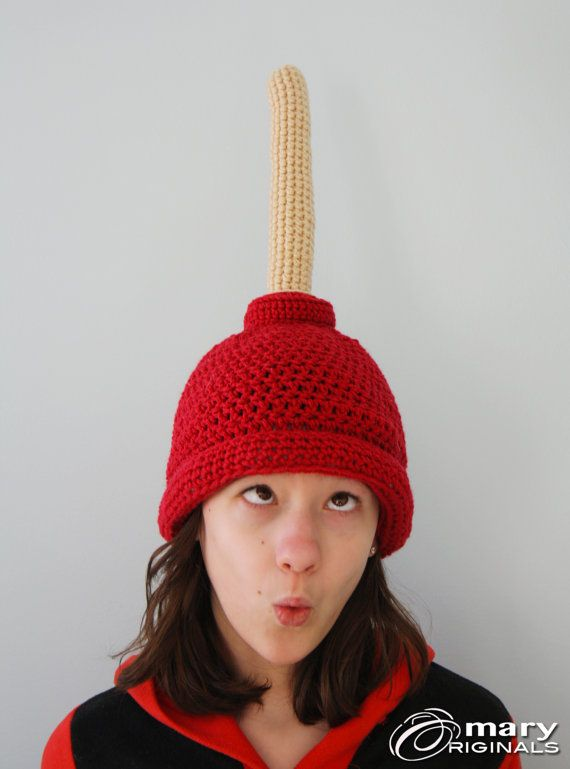 Plunger Hat, Gag Gift, Funny Hat, Toilet Hat, Winter Hat, Holiday Gift, Halloween Costume, Crochet Beanie, Children, Men, Women, Clothing
