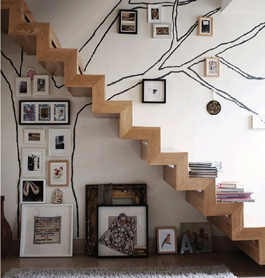 Family tree - stairwell - wallpaper - painted tree