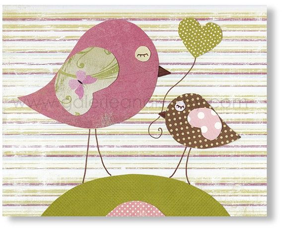 Arte per sala per bambini - decorazioni baby - Girl - bambini - animali - baby arte - uccelli - mi stampa amore mamma