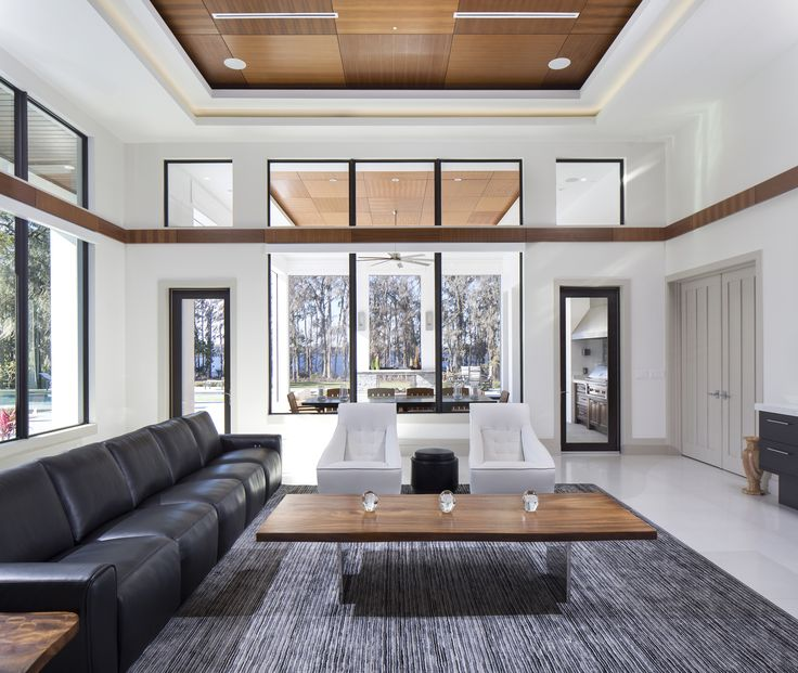 Modern Simplicity And Wood Panel Ceilings Make This Legacy Homes Living  Room One To Remember.