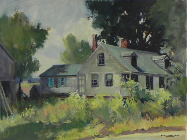 "Oil on Canvasboard 18"" x 24"" Blue Shutters Charles Curtis Allen $1750"