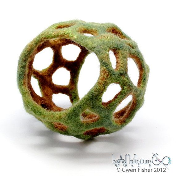 Textile Cuff Bracelet No 38 Green Earth Wet Felt with by gwenbeads